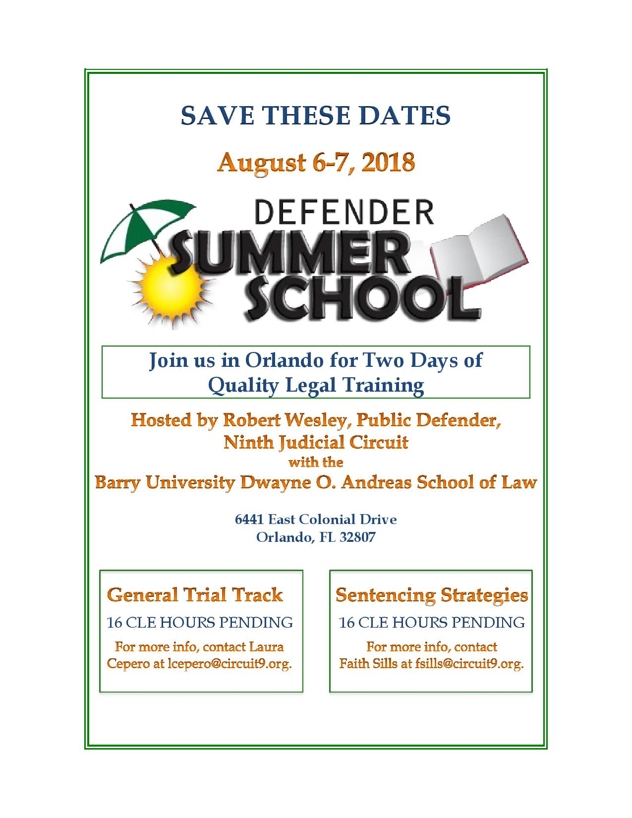 Save The Date Defender Summer School Florida Mental Health Law Also Can I Run Them In A Parallel Or Some Kind Of Circuit To June 20 2018 By Public 9th